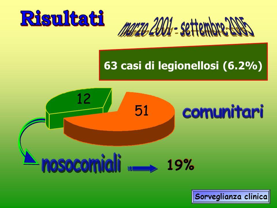 19% Sorveglianza clinica 12 51 63 casi di legionellosi (6.2%)