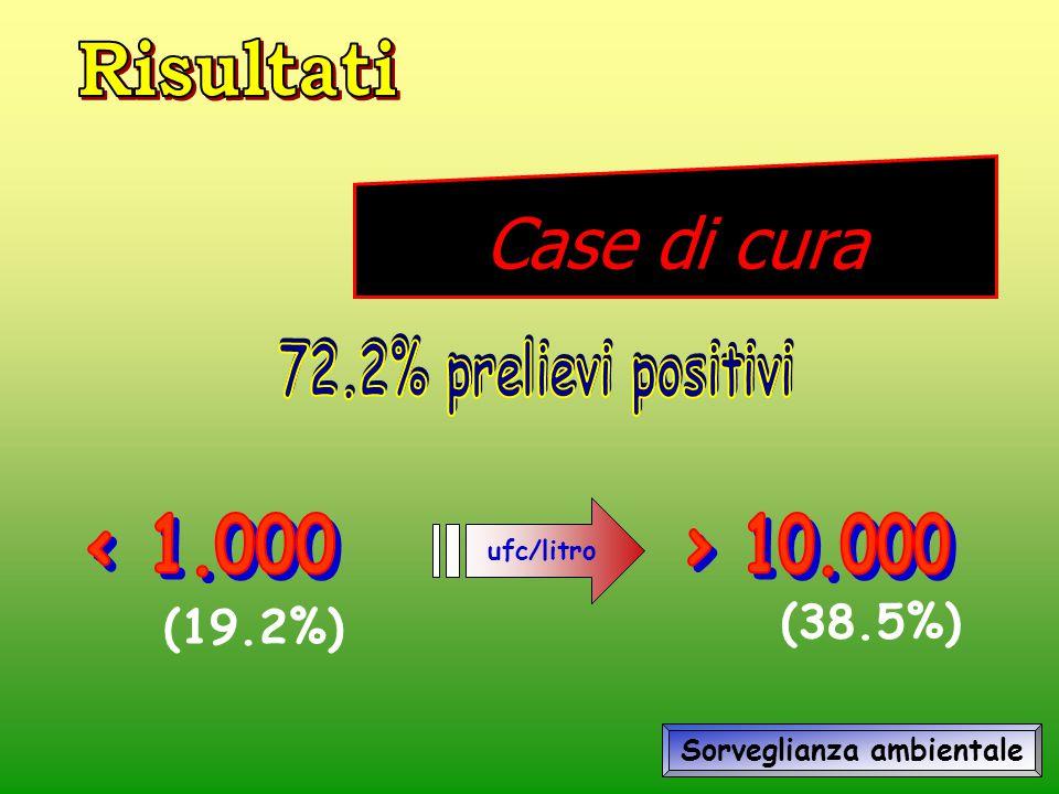 Case di cura ufc/litro (19.2%) (38.5%) Sorveglianza ambientale