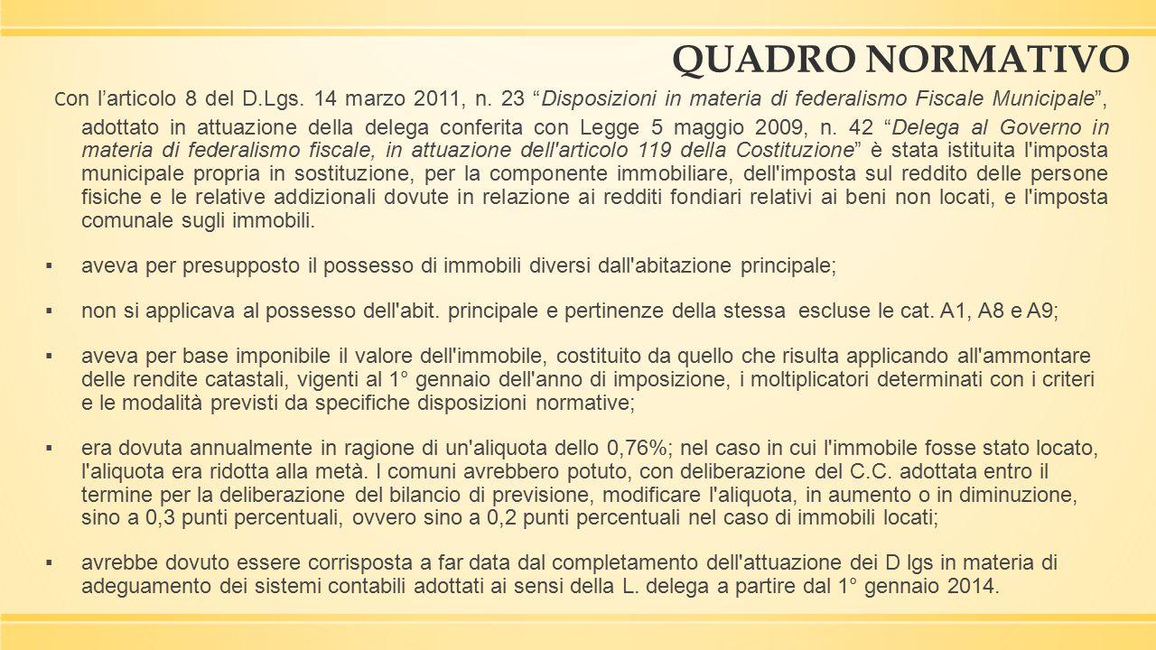 """QUADRO NORMATIVO C on l'articolo 8 del D.Lgs. 14 marzo 2011, n. 23 """"Disposizioni in materia di federalismo Fiscale Municipale"""", adottato in attuazione"""