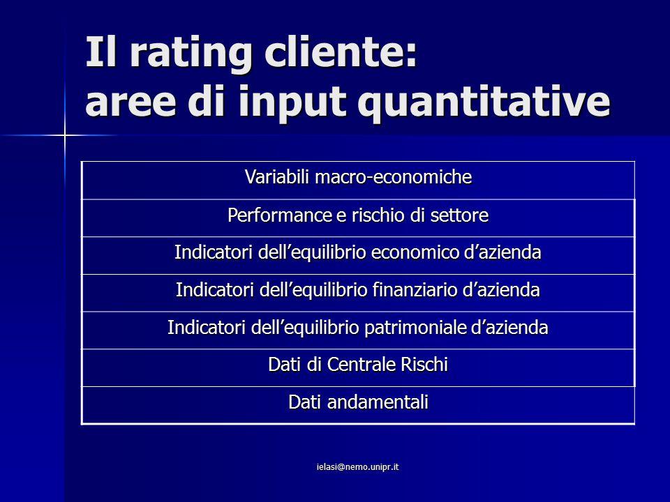 ielasi@nemo.unipr.it Il rating cliente: aree di input quantitative Variabili macro-economiche Performance e rischio di settore Indicatori dell'equilib