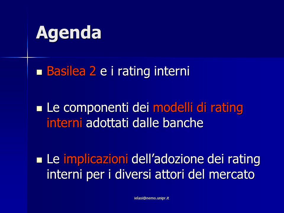 ielasi@nemo.unipr.it Agenda Basilea 2 e i rating interni Basilea 2 e i rating interni Le componenti dei modelli di rating interni adottati dalle banch