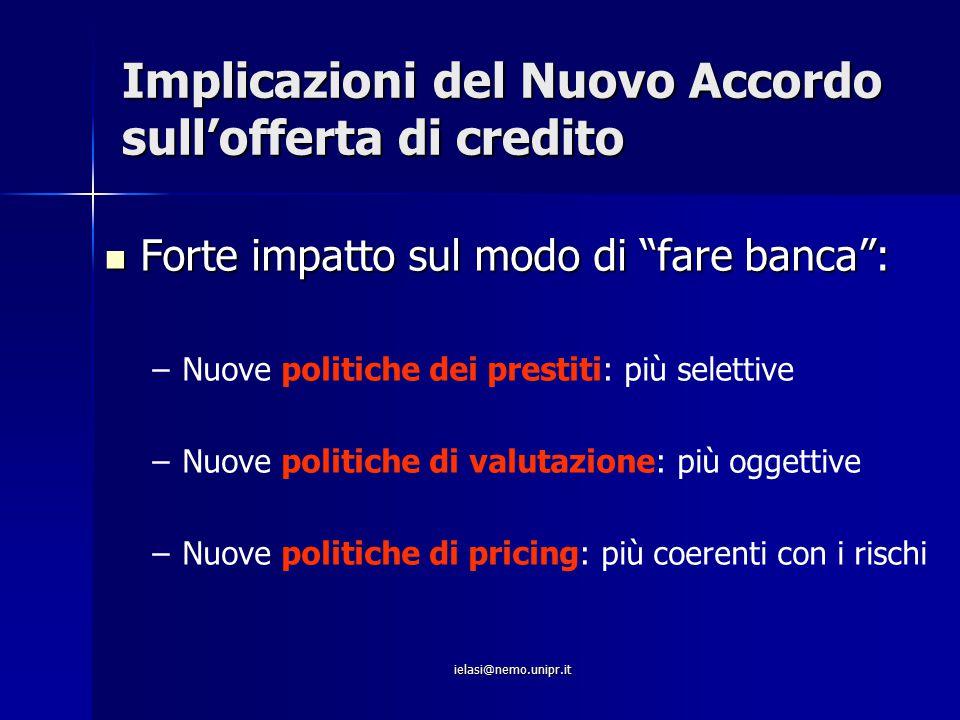 """ielasi@nemo.unipr.it Implicazioni del Nuovo Accordo sull'offerta di credito Forte impatto sul modo di """"fare banca"""": Forte impatto sul modo di """"fare ba"""