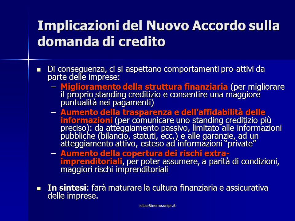 ielasi@nemo.unipr.it Implicazioni del Nuovo Accordo sulla domanda di credito Di conseguenza, ci si aspettano comportamenti pro-attivi da parte delle i