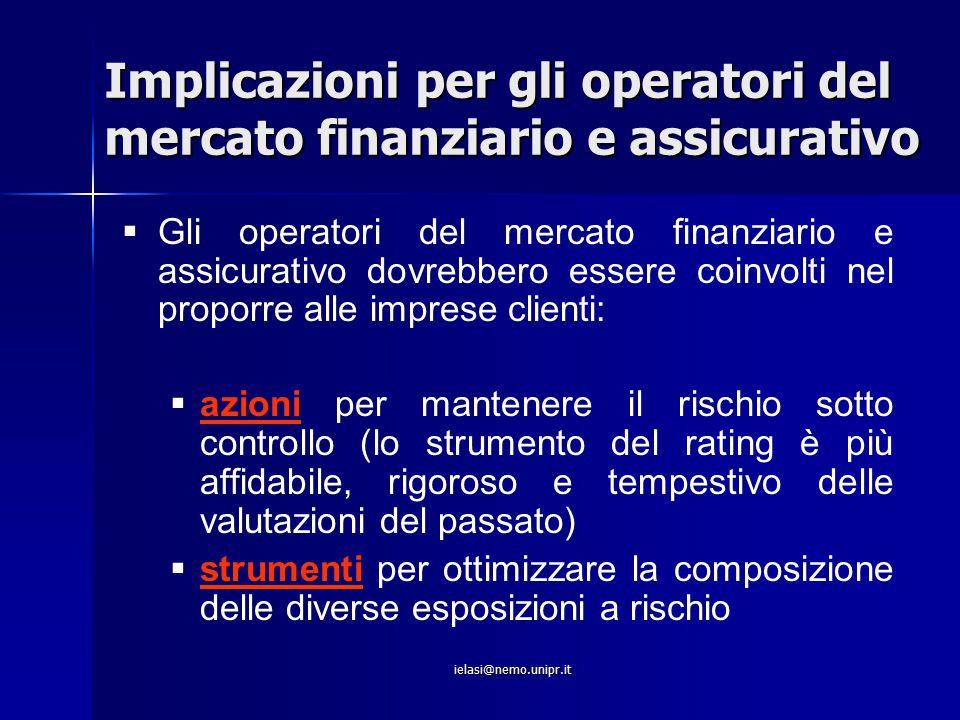 ielasi@nemo.unipr.it Implicazioni per gli operatori del mercato finanziario e assicurativo   Gli operatori del mercato finanziario e assicurativo do