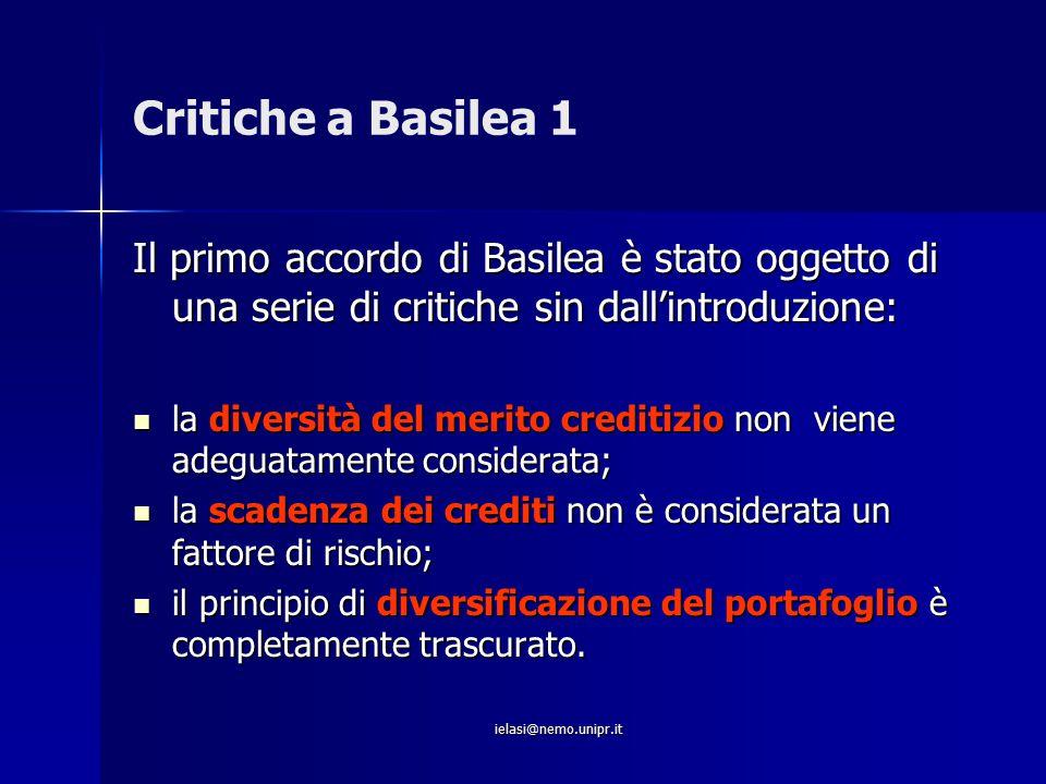 ielasi@nemo.unipr.it Critiche a Basilea 1 Il primo accordo di Basilea è stato oggetto di una serie di critiche sin dall'introduzione: la diversità del