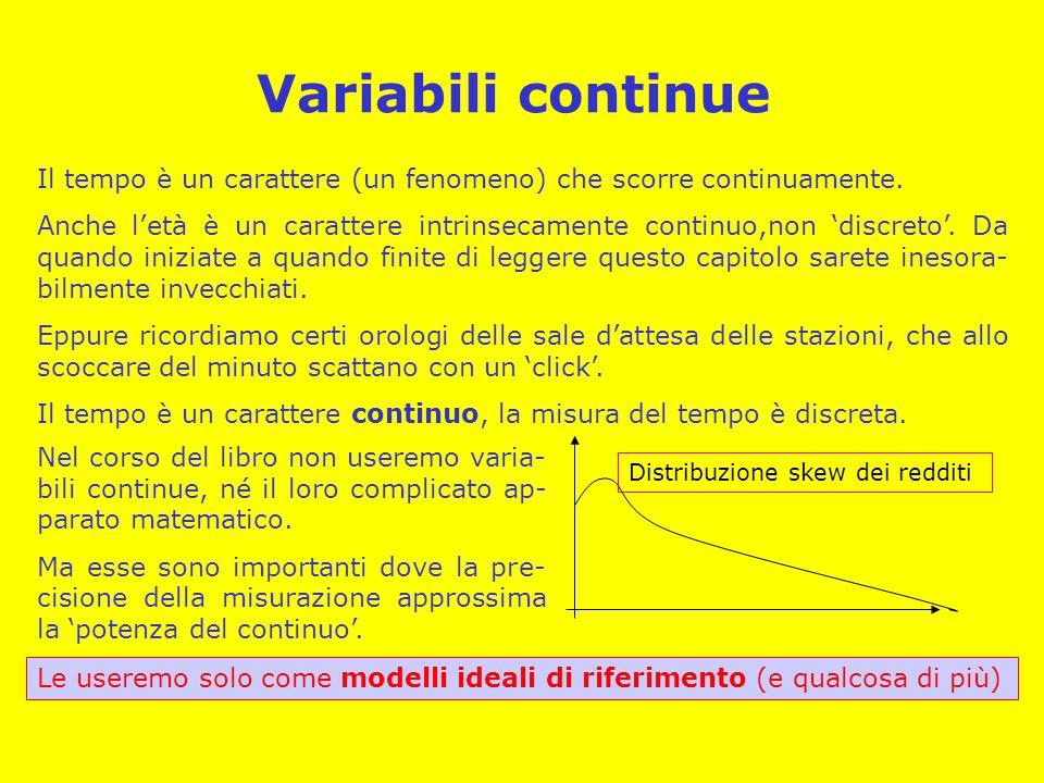 Variabili continue Il tempo è un carattere (un fenomeno) che scorre continuamente. Anche l'età è un carattere intrinsecamente continuo,non 'discreto'.