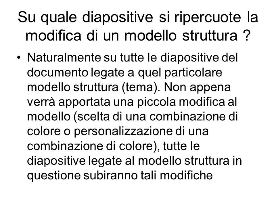 Modifica di un modello struttura In prima istanza, all'utente non esperto, PowerPoint propone di modificare i colori dei vari oggetti presenti nel modello