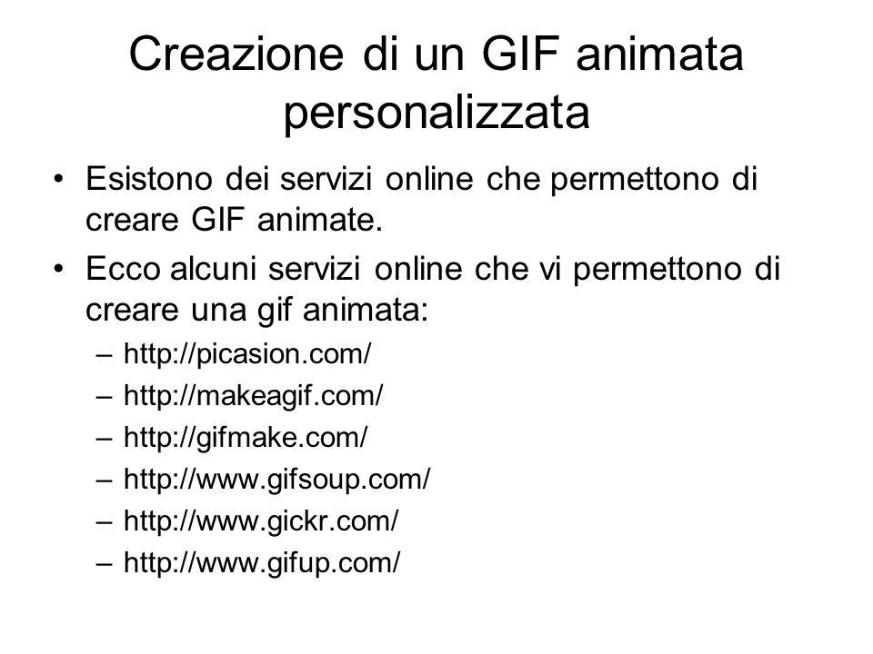 Le GIF animate GIF è un particolare formato di immagine (estensione del file.gif) che può contenere sia immagine statica , come tutti gli altri formati (.jpg,.bmp,.tif, …), sia una piccola animazione (le cosiddette gif animate) Se cercate su Internet la frase gif animate potete trovare e salvare su file gif animate (un vostro archivio personale) o copiare una gif animata direttamente sulla diapositiva (copia/incolla) L'immagine si animerà solo quando avviate la presentazione della diapositiva che la contiene