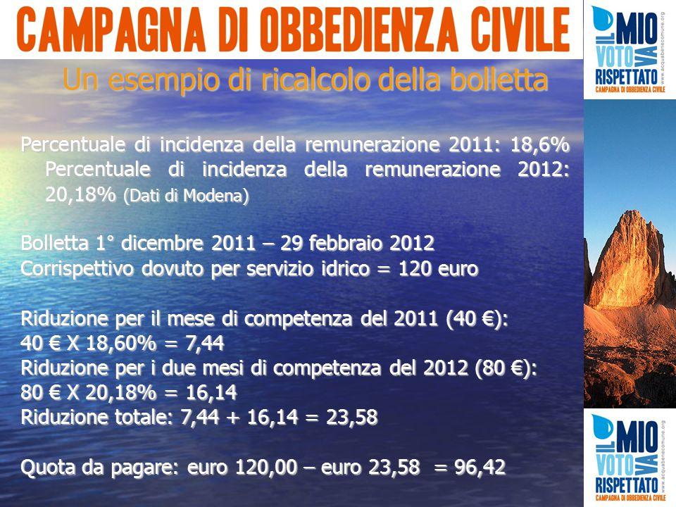 Percentuale di incidenza della remunerazione 2011: 18,6% Percentuale di incidenza della remunerazione 2012: 20,18% (Dati di Modena) Bolletta 1° dicembre 2011 – 29 febbraio 2012 Corrispettivo dovuto per servizio idrico = 120 euro Riduzione per il mese di competenza del 2011 (40 €): 40 € X 18,60% = 7,44 Riduzione per i due mesi di competenza del 2012 (80 €): 80 € X 20,18% = 16,14 Riduzione totale: 7,44 + 16,14 = 23,58 Quota da pagare: euro 120,00 – euro 23,58 = 96,42 Un esempio di ricalcolo della bolletta