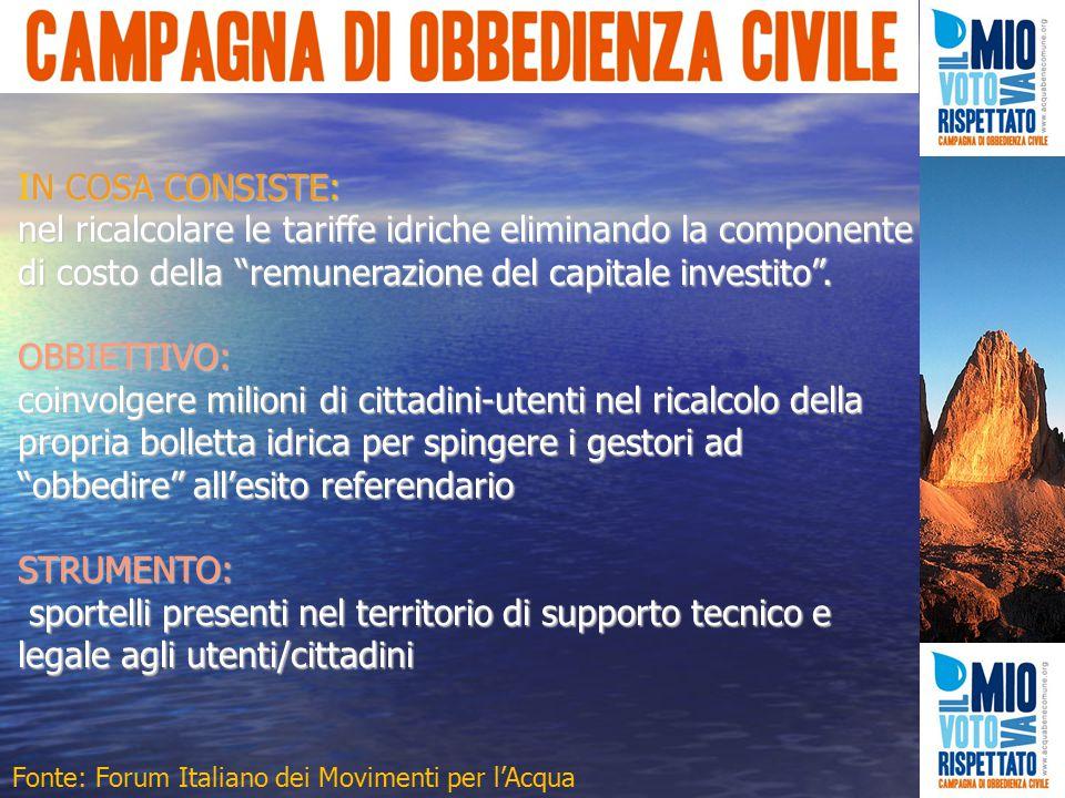 IN COSA CONSISTE: nel ricalcolare le tariffe idriche eliminando la componente di costo della remunerazione del capitale investito .