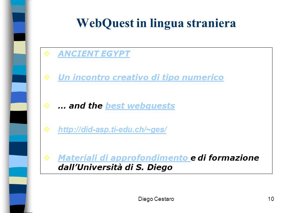 Diego Cestaro10 WebQuest in lingua straniera  ANCIENT EGYPT ANCIENT EGYPT  Un incontro creativo di tipo numerico Un incontro creativo di tipo numeri