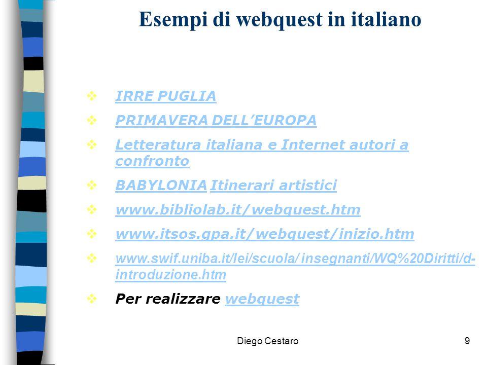 Diego Cestaro9 Esempi di webquest in italiano  IRRE PUGLIA IRRE PUGLIA  PRIMAVERA DELL'EUROPA PRIMAVERA DELL'EUROPA  Letteratura italiana e Interne