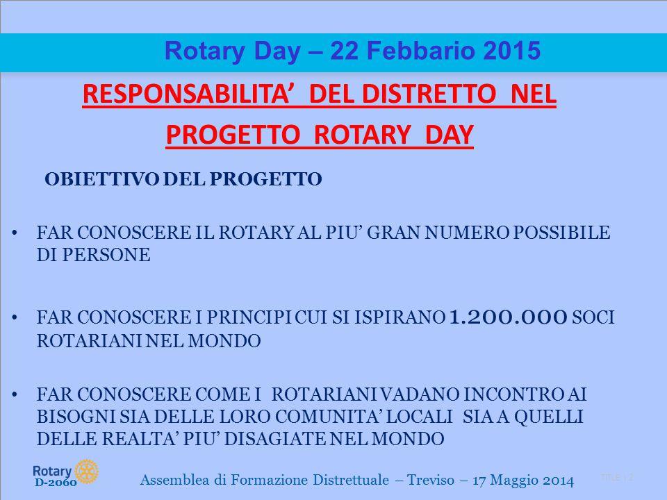 TITLE | 2 Rotary Day – 22 Febbario 2015 RESPONSABILITA' DEL DISTRETTO NEL PROGETTO ROTARY DAY OBIETTIVO DEL PROGETTO FAR CONOSCERE IL ROTARY AL PIU' GRAN NUMERO POSSIBILE DI PERSONE FAR CONOSCERE I PRINCIPI CUI SI ISPIRANO 1.200.000 SOCI ROTARIANI NEL MONDO FAR CONOSCERE COME I ROTARIANI VADANO INCONTRO AI BISOGNI SIA DELLE LORO COMUNITA' LOCALI SIA A QUELLI DELLE REALTA' PIU' DISAGIATE NEL MONDO D-2060 Assemblea di Formazione Distrettuale – Treviso – 17 Maggio 2014
