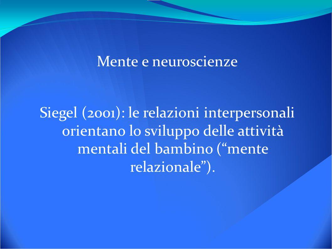 Mente e neuroscienze Siegel (2001): le relazioni interpersonali orientano lo sviluppo delle attività mentali del bambino ( mente relazionale ).