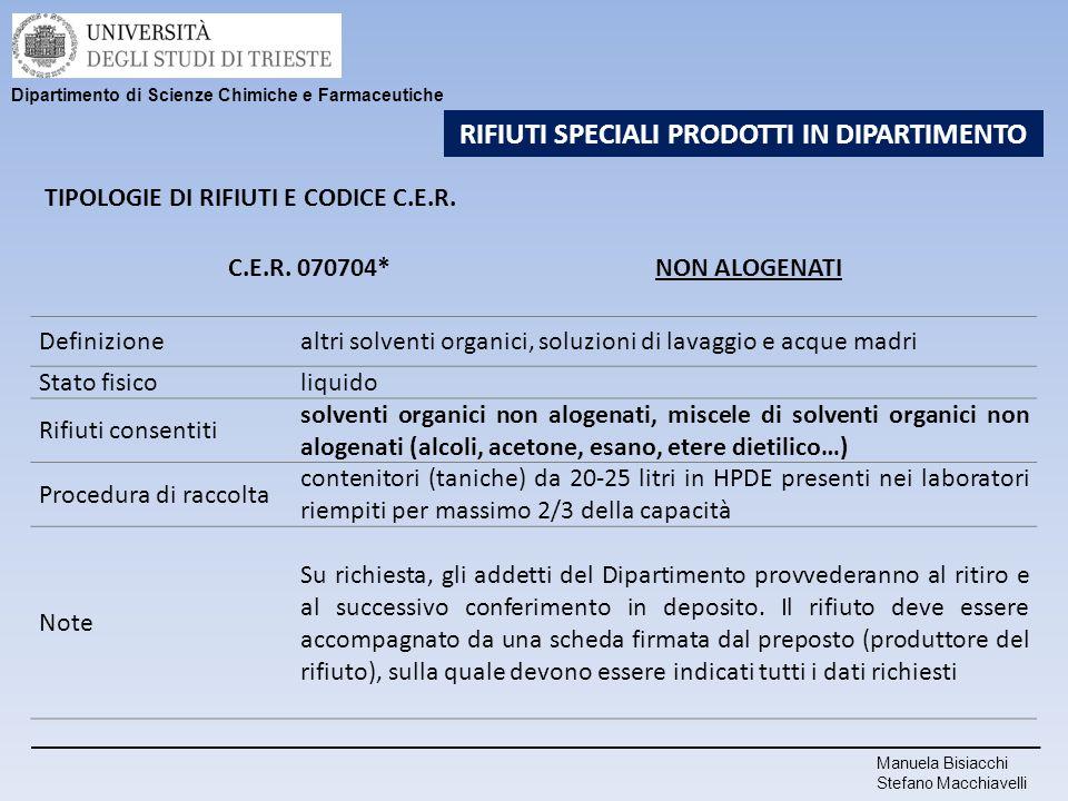 Manuela Bisiacchi Stefano Macchiavelli Dipartimento di Scienze Chimiche e Farmaceutiche RIFIUTI SPECIALI PRODOTTI IN DIPARTIMENTO TIPOLOGIE DI RIFIUTI