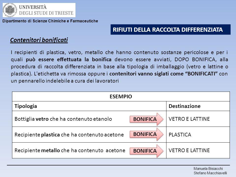 Manuela Bisiacchi Stefano Macchiavelli Dipartimento di Scienze Chimiche e Farmaceutiche RIFIUTI DELLA RACCOLTA DIFFERENZIATA Contenitori bonificati I
