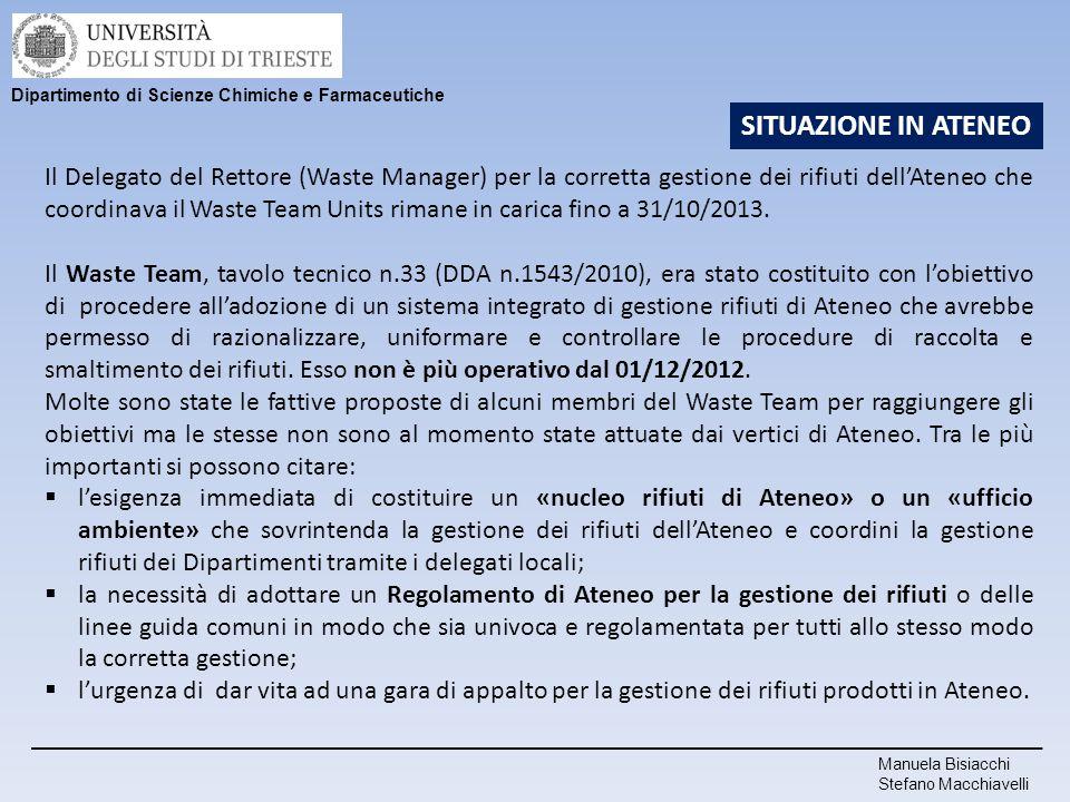 Il Delegato del Rettore (Waste Manager) per la corretta gestione dei rifiuti dell'Ateneo che coordinava il Waste Team Units rimane in carica fino a 31
