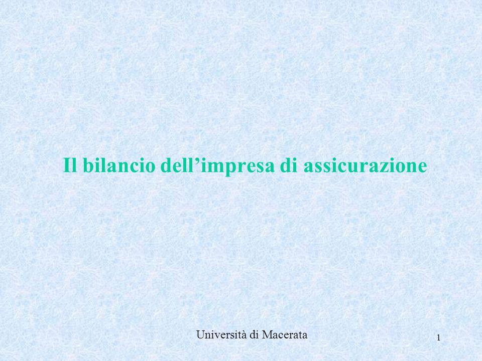 1 Il bilancio dell'impresa di assicurazione Università di Macerata