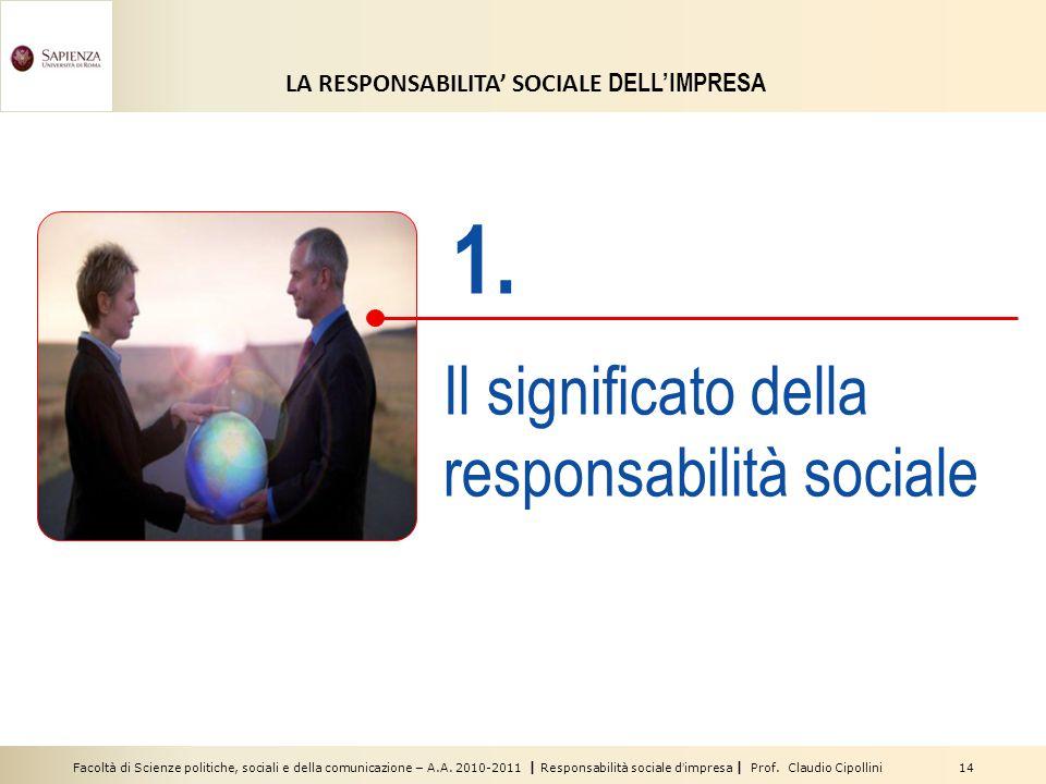 Facoltà di Scienze politiche, sociali e della comunicazione – A.A. 2010-2011 | Responsabilità sociale d'impresa | Prof. Claudio Cipollini 14 1. Il sig