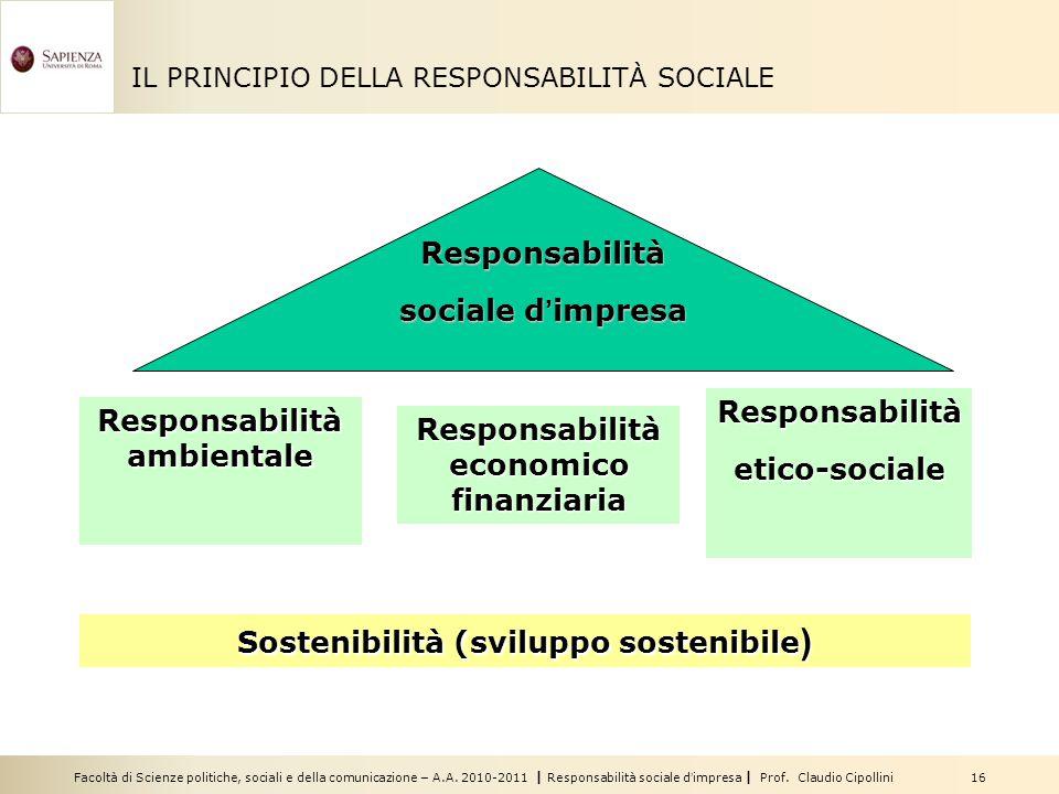 Facoltà di Scienze politiche, sociali e della comunicazione – A.A. 2010-2011 | Responsabilità sociale d'impresa | Prof. Claudio Cipollini 16 IL PRINCI