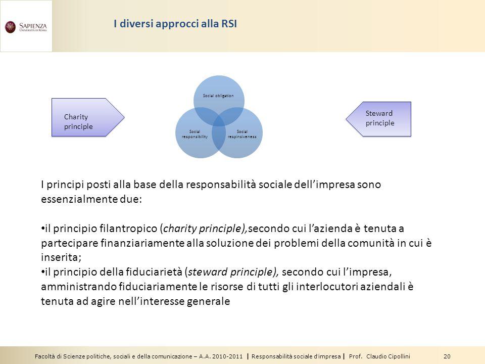 Facoltà di Scienze politiche, sociali e della comunicazione – A.A. 2010-2011 | Responsabilità sociale d'impresa | Prof. Claudio Cipollini 20 I diversi