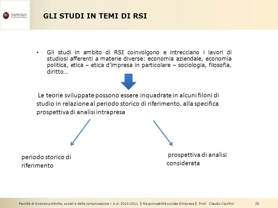Facoltà di Scienze politiche, sociali e della comunicazione – A.A. 2010-2011   Responsabilità sociale d'impresa   Prof. Claudio Cipollini 25 GLI STUDI