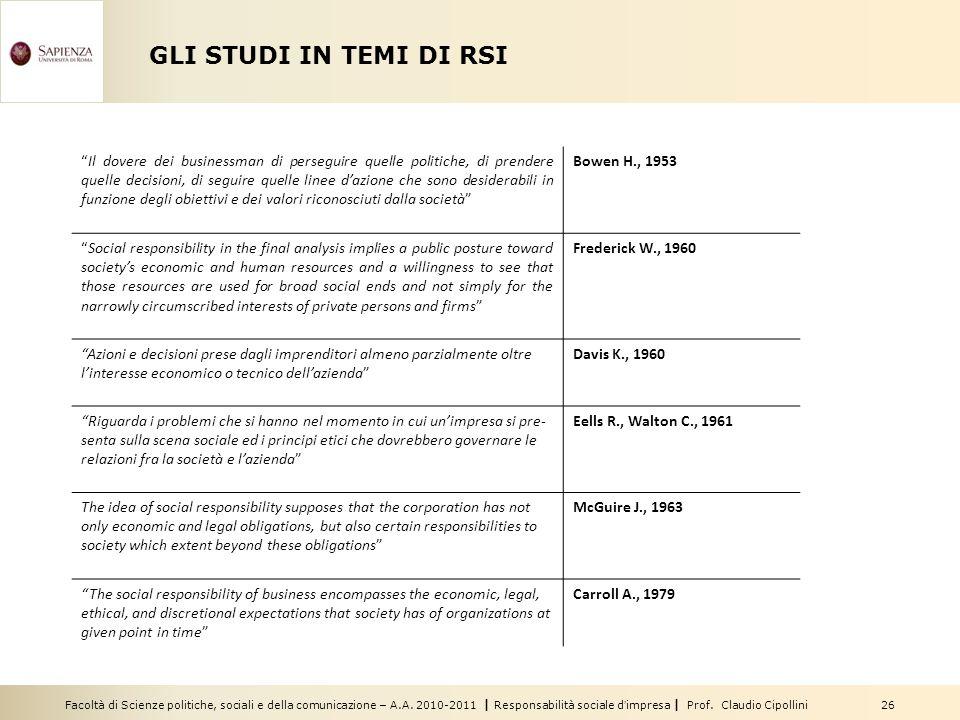 Facoltà di Scienze politiche, sociali e della comunicazione – A.A. 2010-2011   Responsabilità sociale d'impresa   Prof. Claudio Cipollini 26 GLI STUDI