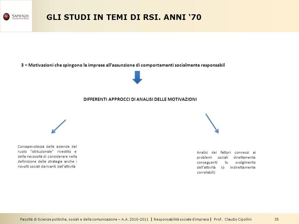 Facoltà di Scienze politiche, sociali e della comunicazione – A.A. 2010-2011   Responsabilità sociale d'impresa   Prof. Claudio Cipollini 35 GLI STUDI