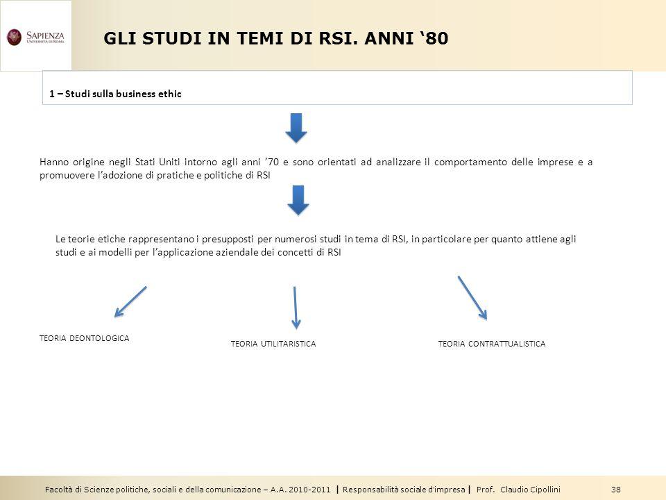 Facoltà di Scienze politiche, sociali e della comunicazione – A.A. 2010-2011   Responsabilità sociale d'impresa   Prof. Claudio Cipollini 38 GLI STUDI