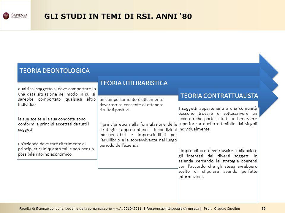 Facoltà di Scienze politiche, sociali e della comunicazione – A.A. 2010-2011   Responsabilità sociale d'impresa   Prof. Claudio Cipollini 39 GLI STUDI