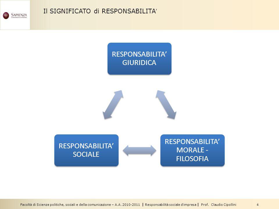 Facoltà di Scienze politiche, sociali e della comunicazione – A.A. 2010-2011   Responsabilità sociale d'impresa   Prof. Claudio Cipollini 4 Il SIGNIFI