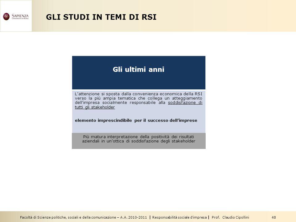 Facoltà di Scienze politiche, sociali e della comunicazione – A.A. 2010-2011   Responsabilità sociale d'impresa   Prof. Claudio Cipollini 48 GLI STUDI