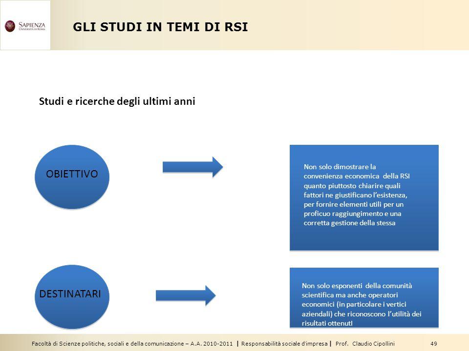 Facoltà di Scienze politiche, sociali e della comunicazione – A.A. 2010-2011   Responsabilità sociale d'impresa   Prof. Claudio Cipollini 49 GLI STUDI