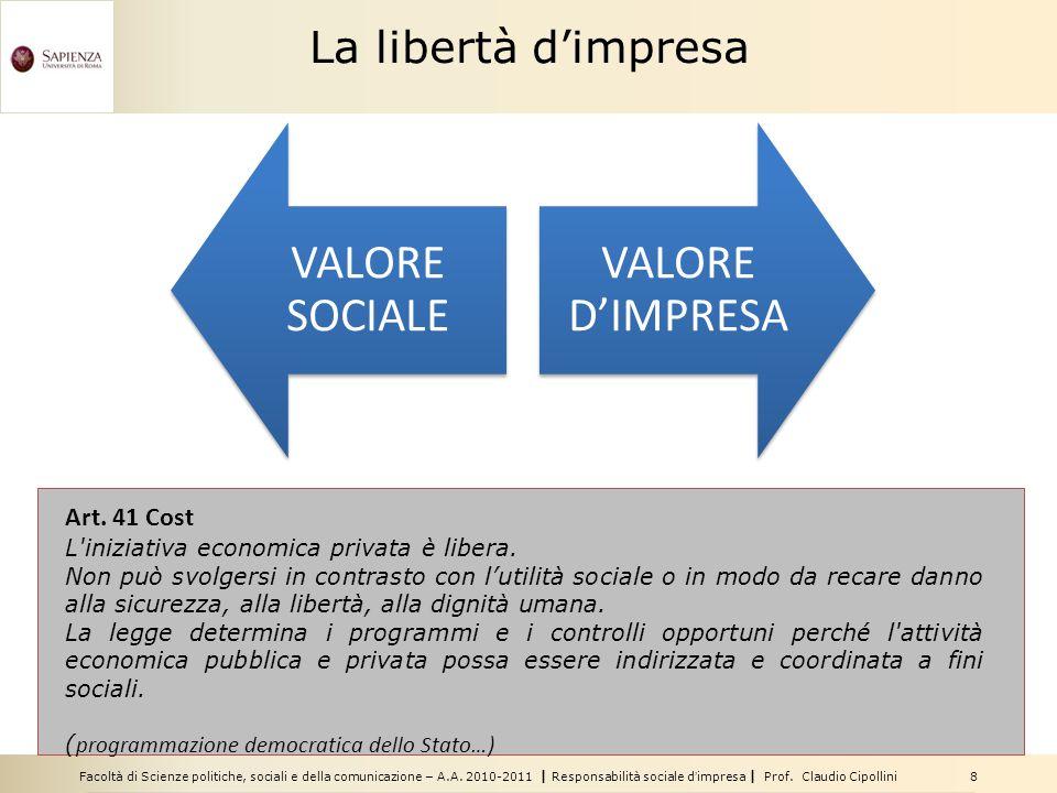 Facoltà di Scienze politiche, sociali e della comunicazione – A.A. 2010-2011   Responsabilità sociale d'impresa   Prof. Claudio Cipollini 8 La libertà