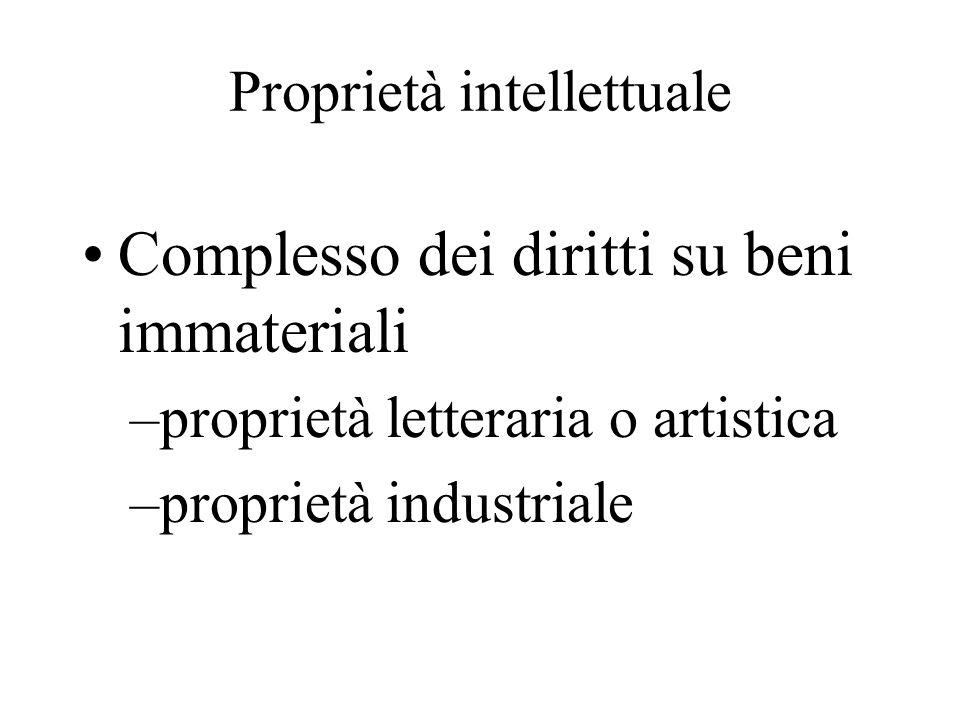 Proprietà intellettuale Complesso dei diritti su beni immateriali –proprietà letteraria o artistica –proprietà industriale