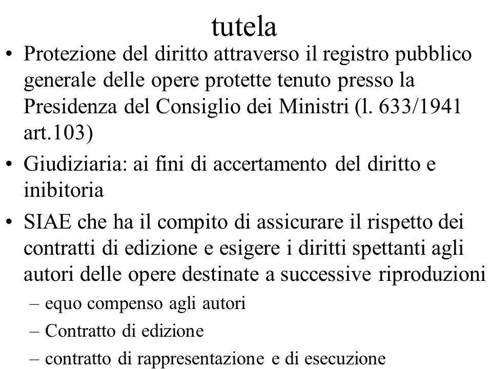 tutela Protezione del diritto attraverso il registro pubblico generale delle opere protette tenuto presso la Presidenza del Consiglio dei Ministri (l.