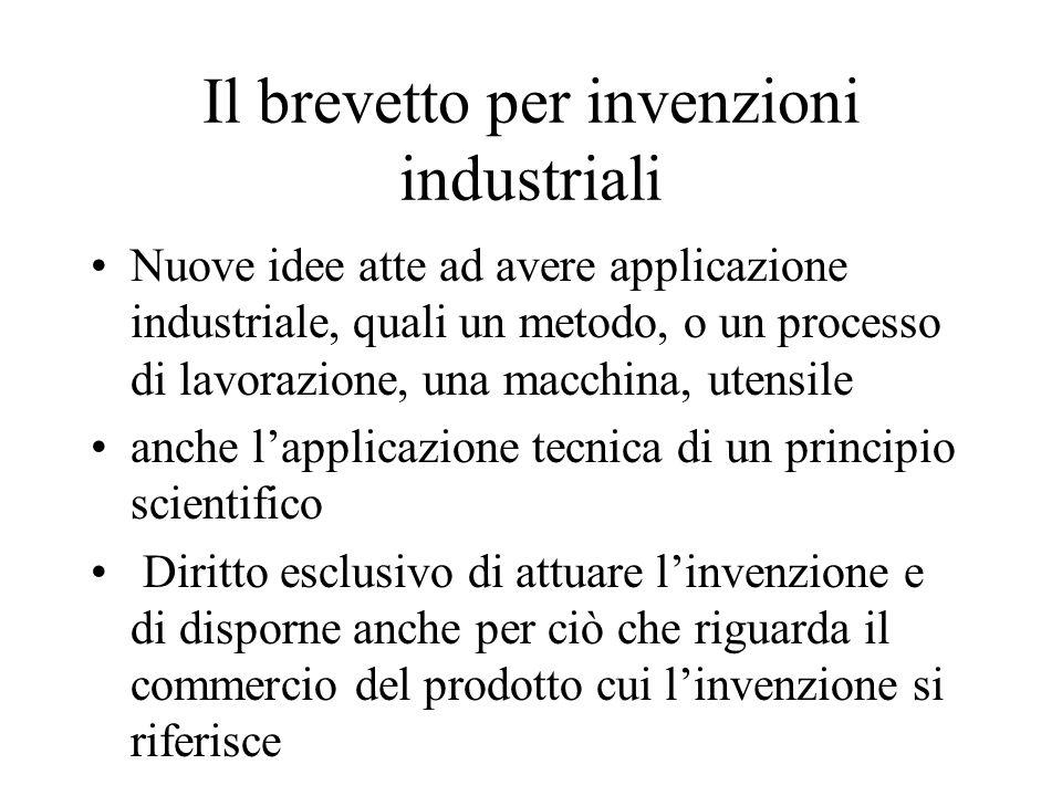 Il brevetto per invenzioni industriali Nuove idee atte ad avere applicazione industriale, quali un metodo, o un processo di lavorazione, una macchina,