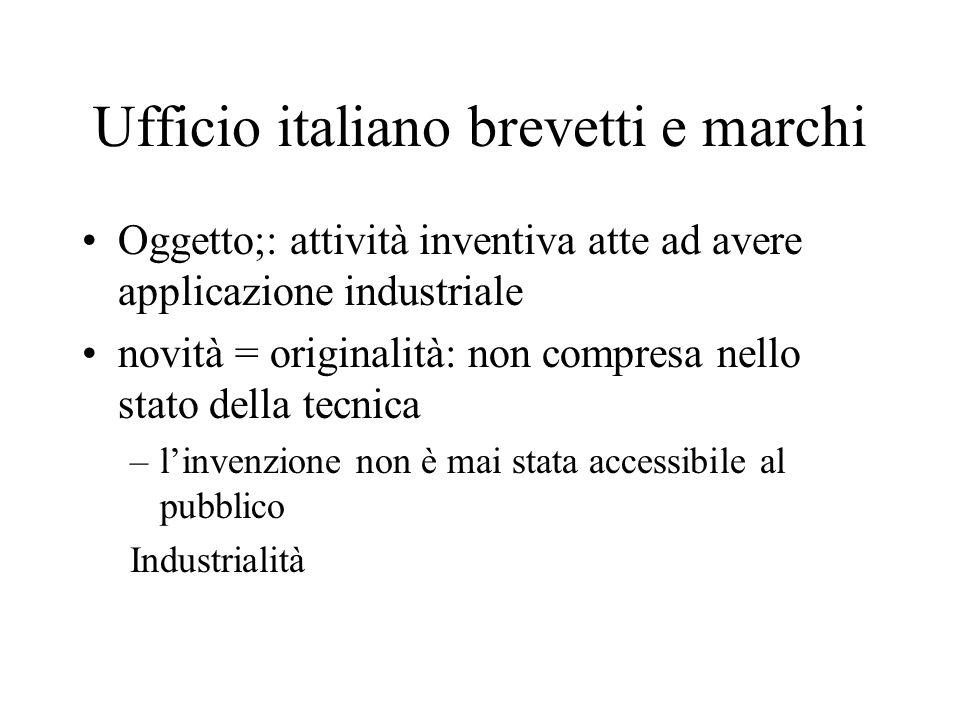 Ufficio italiano brevetti e marchi Oggetto;: attività inventiva atte ad avere applicazione industriale novità = originalità: non compresa nello stato