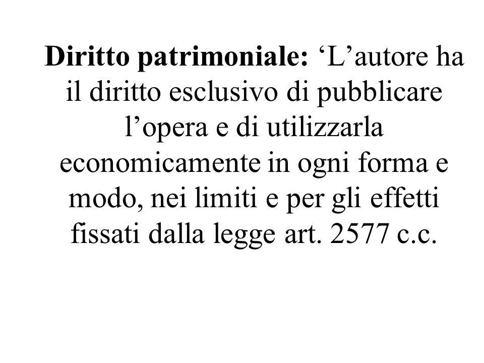 Diritto patrimoniale: 'L'autore ha il diritto esclusivo di pubblicare l'opera e di utilizzarla economicamente in ogni forma e modo, nei limiti e per g
