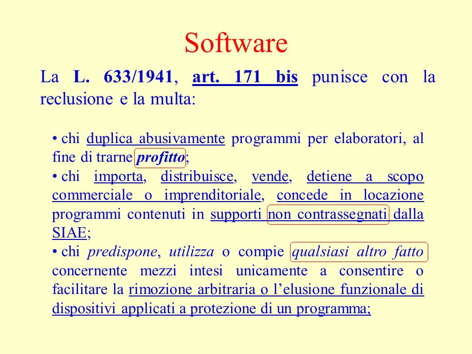 Software La L.633/1941, art.