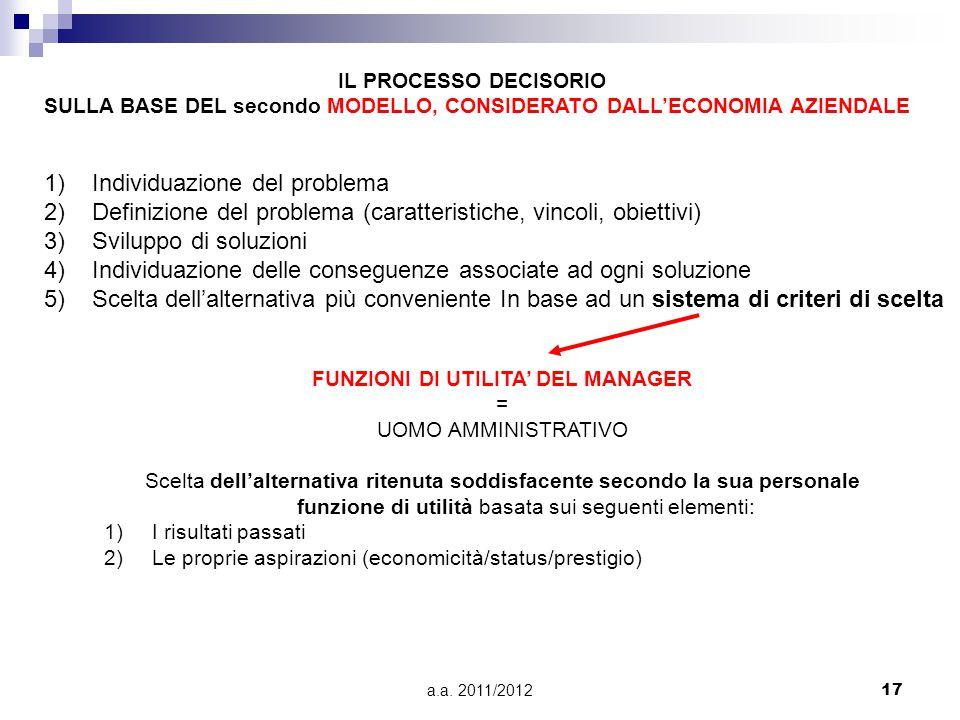 a.a. 2011/201217 1)Individuazione del problema 2)Definizione del problema (caratteristiche, vincoli, obiettivi) 3)Sviluppo di soluzioni 4)Individuazio