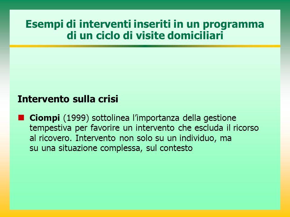 Esempi di interventi inseriti in un programma di un ciclo di visite domiciliari Intervento sulla crisi Ciompi (1999) sottolinea l'importanza della ges