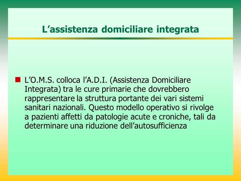 L'assistenza domiciliare integrata L'O.M.S. colloca l'A.D.I. (Assistenza Domiciliare Integrata) tra le cure primarie che dovrebbero rappresentare la s