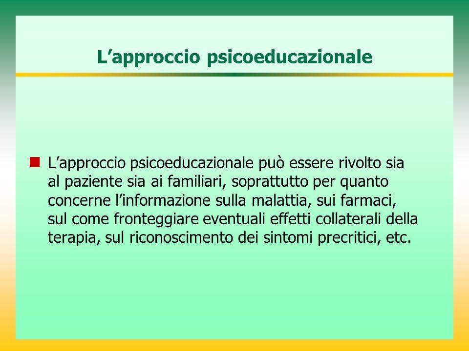 L'approccio psicoeducazionale L'approccio psicoeducazionale può essere rivolto sia al paziente sia ai familiari, soprattutto per quanto concerne l'inf
