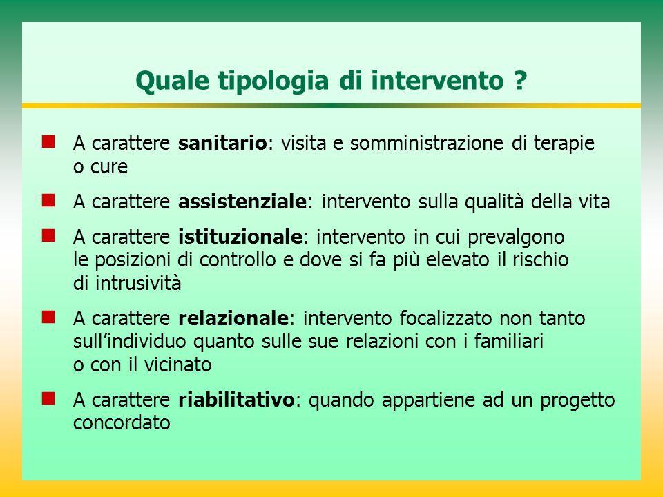 Quale tipologia di intervento ? A carattere sanitario: visita e somministrazione di terapie o cure A carattere assistenziale: intervento sulla qualità