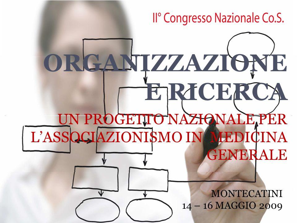 ORGANIZZAZIONE E RICERCA UN PROGETTO NAZIONALE PER L'ASSOCIAZIONISMO IN MEDICINA GENERALE MONTECATINI 14 – 16 MAGGIO 2009
