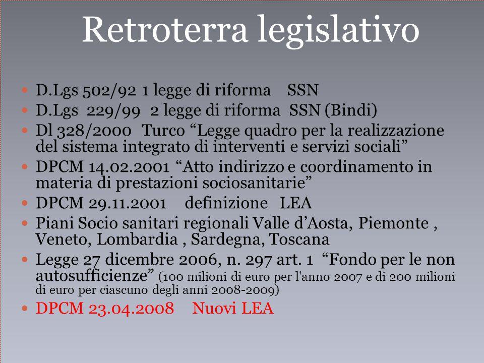 Retroterra legislativo D.Lgs 502/92 1 legge di riforma SSN D.Lgs 229/99 2 legge di riforma SSN (Bindi) Dl 328/2000 Turco Legge quadro per la realizzazione del sistema integrato di interventi e servizi sociali DPCM 14.02.2001 Atto indirizzo e coordinamento in materia di prestazioni sociosanitarie DPCM 29.11.2001 definizione LEA Piani Socio sanitari regionali Valle d'Aosta, Piemonte, Veneto, Lombardia, Sardegna, Toscana Legge 27 dicembre 2006, n.