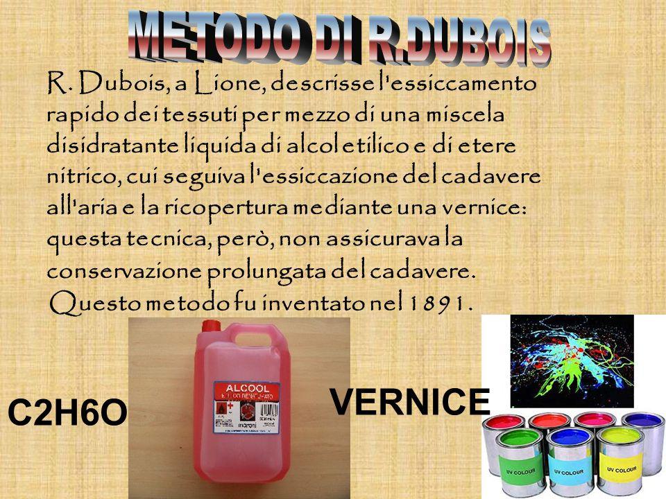 R. Dubois, a Lione, descrisse l'essiccamento rapido dei tessuti per mezzo di una miscela disidratante liquida di alcol etilico e di etere nitrico, cui