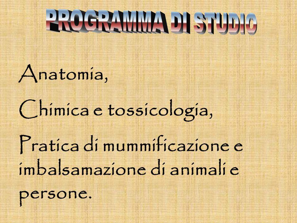 Anatomia, Chimica e tossicologia, Pratica di mummificazione e imbalsamazione di animali e persone.