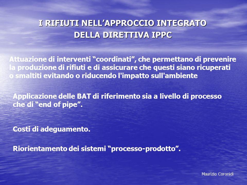 """Maurizio Coronidi I RIFIUTI NELL'APPROCCIO INTEGRATO DELLA DIRETTIVA IPPC Attuazione di interventi """"coordinati"""", che permettano di prevenire la produz"""